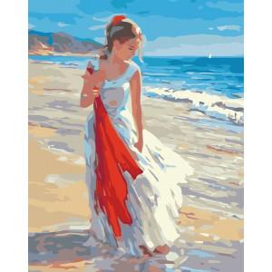 "GX6380 ""Девушка идет вдоль берега моря"", 40х50 см"