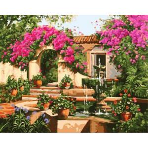 """GX9087 """"Дом, фонтан, розовые цветы"""", 40х50 см купить в Омске недорого"""