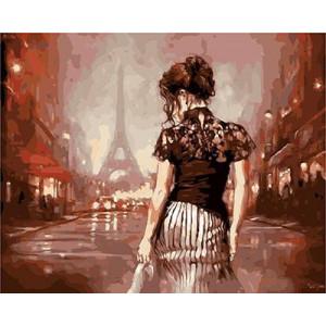 """GX9177 """"Девушка спиной в Париже"""", 40х50 см купить в Омске недорого"""