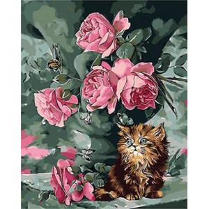 """GX9180 """"Розы, котенок, улитка"""", 40х50 см"""