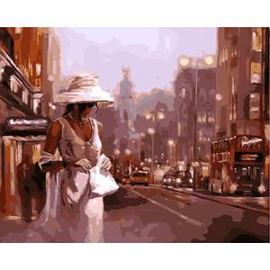 """GX9123 """"Дама в белом с белой сумочкой"""", 40х50 см купить в Омске недорого"""