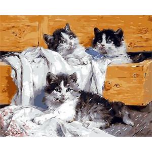"""GX9134 """"Три котенка в комоде"""", 40х50 см"""