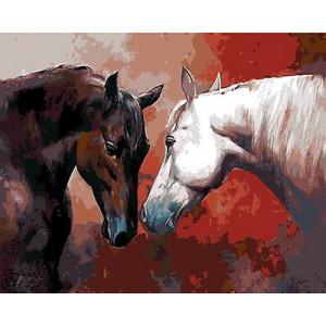 """GX9159 """"Гнедая лошадь и белый конь"""", 40х50 см купить в Омске недорого"""
