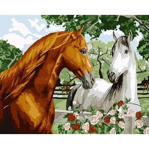 """GX9040 """"Коричневый конь и белая лошадь"""", 40х50 см"""