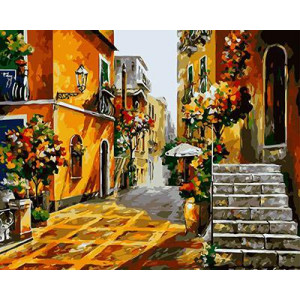 "GX9048 ""Улица, лестница, дома в цветах"", 40х50 см"