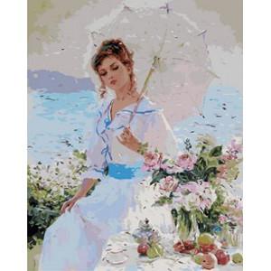 """GX9059 """"Девушка в белом под белым зонтом"""", 40х50 см купить в Омске недорого"""