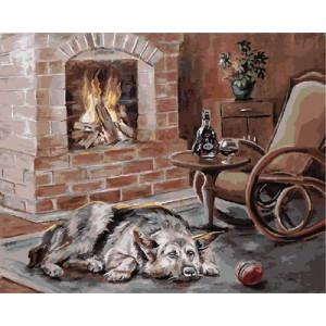"GX9073 ""Собака лежит у камина"", 40х50 см"
