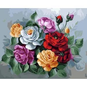 """GX9086 """"Цветные розы на сером фоне"""", 40х50 см"""