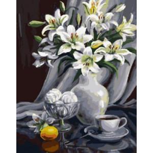 "GX9110 ""Серый натюрморт с лилиями"", 40х50 см"