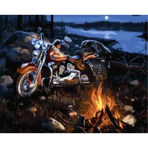 "GX9113 ""Мотоцикл у костра"", 40х50 см"