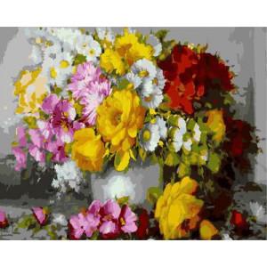"""GX9146 """"Яркий полевой букет в серой вазе"""", 40х50 см"""