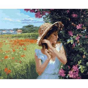 """GX9178 """"Девушка в поле у куста"""", 40х50 см"""