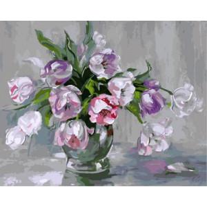 """GX9098 """"Цветы в серой вазе на сером фоне"""", 40х50 см купить в Омске недорого"""
