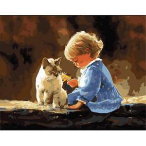 """GX9144 """"Девочка в голубом платье и кошка"""", 40х50 см"""