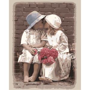 """GX8599 """"Детский поцелуй, красные цветы"""", 40х50 см"""