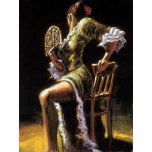 "GX8614 ""Девушка на стуле с веером"", 40х50 см"