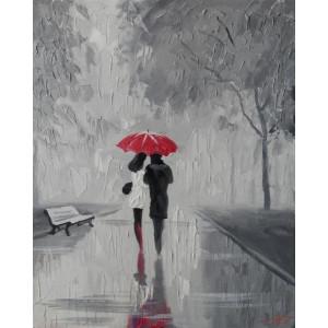 """GX8623 """"Пара под зонтом на серой аллее"""", 40х50 см купить в Омске недорого"""
