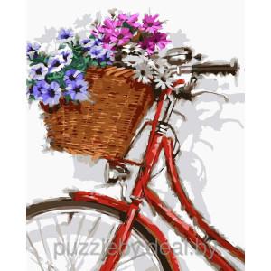 """GX8632 """"Красный велосипед с корзиной цветов"""", 40х50 см"""