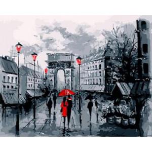"""GX8637 """"Пара под красным зонтом, 4 фонаря"""", 40х50 см"""