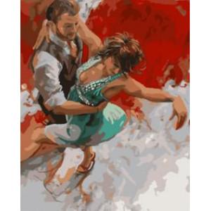 """GX8643 """"Танец на красно-белом фоне"""", 40х50 см"""