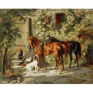 """GX8647 """"Два коня и три собаки"""", 40х50 см"""