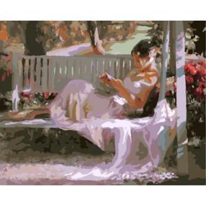 "GX8649 ""Девушка читает книгу на качеле"", 40х50 см купить в Омске недорого"
