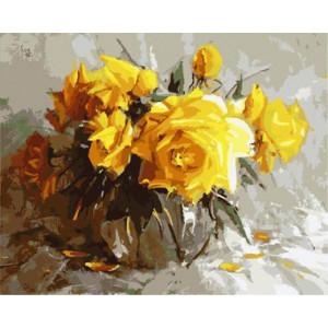"GX8651 ""Желтые розы в прозрачной вазе"", 40х50 см"