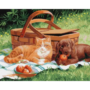 "GX8653 ""Собака и кот около корзины"", 40х50 см"