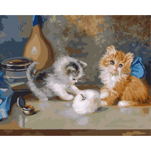 "GX8655 ""Два котенка на столе"", 40х50 см"