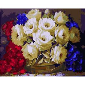 """GX8658 """"Белые, красные и синие цветы"""", 40х50 см"""