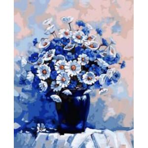 """GX8779 """"Ромашки и васильки в синей вазе"""", 40х50 см"""