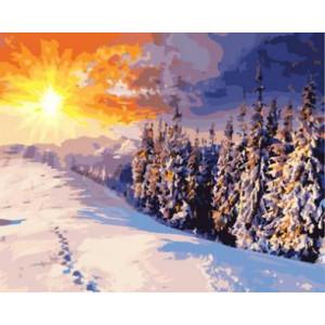 """GX8783 """"Зимний лес, следы на снегу"""", 40х50 см"""