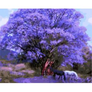 """GX8784 """"Две лошади по сиреневым деревом"""", 40х50 см купить в Омске недорого"""