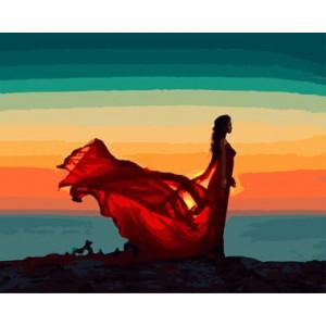 """GX8786 """"Девушка в развевающемся красном платье"""", 40х50 см"""
