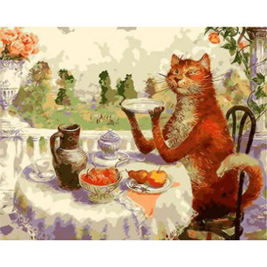 "GX8788 ""Кот завтракает за столом"", 40х50 см купить в Омске недорого"