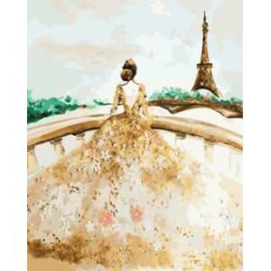 """GX8796 """"Девушка в пышном белом платье"""", 40х50 см"""