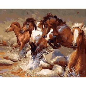 "GX8803 ""Лошади скачут через ручей"", 40х50 см"