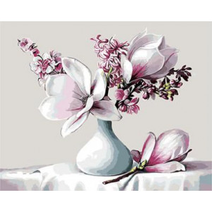 "GX8843 ""Белые цветы в белой вазе"", 40х50 см"