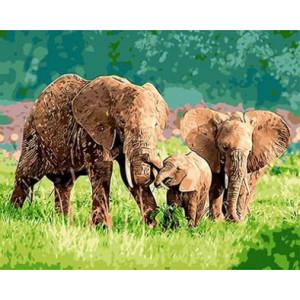 """GX8864 """"Семья слонов"""", 40х50 см"""