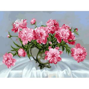 """GX8881 """"Розовые пионы в прозрачной вазе"""", 40х50 см купить в Омске недорого"""
