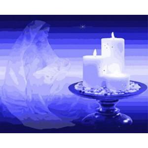 """GX8892 """"Три свечи на синем фоне"""", 40х50 см"""