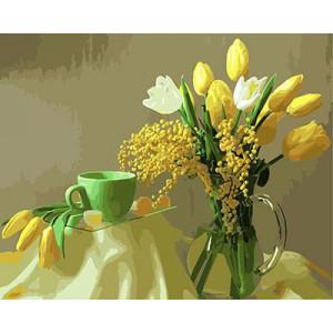 "GX9245 ""Тюльпаны и зеленая чашка"", 40х50 см"