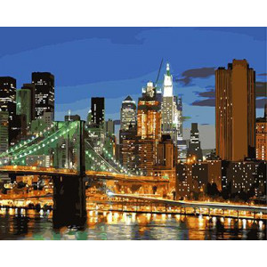 "GX9257 картина по номерам ""Бруклинский мост вечером"", 40х50 см"