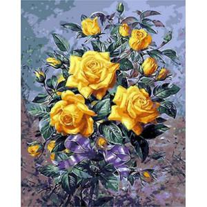 "GX9263 ""Желтые розы с синим бантом"", 40х50 см"