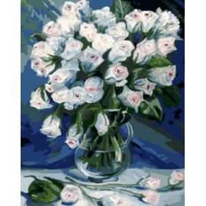 """GX9270 """"Белые розы в прозрачной вазе"""", 40х50 см"""