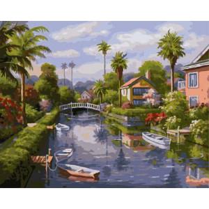 """GX9271 """"Канал, пальмы, дома"""", 40х50 см"""