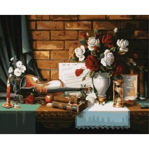 "GХ8976 ""Скрипка, книги, цветы"", 40х50 см"