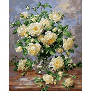 Картина по номерам G439 Белые розы 40х50