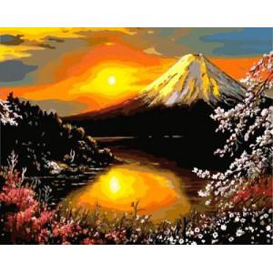 "GХ3087 ""Закат, гора, озеро"", 40х50 см"