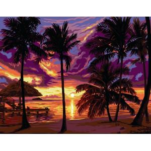 """GХ3113 """"Пальмы, море , закат"""", 40х50 см"""